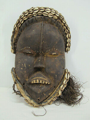 Antique African Dan Tribe People Deangle Mask w/Cowrie Shells Teeth OLD Old yqz
