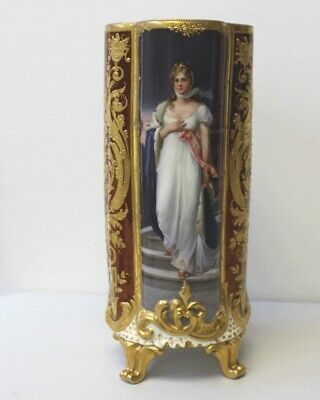 "Royal Vienna Style Antique Hand Painted Big 12"" Vase Queen Louise"