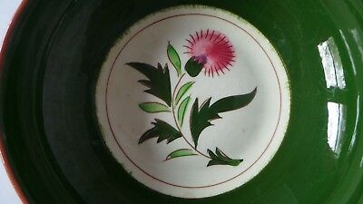 "STANGL THISTLE 8"" vegetable SERVING BOWL Mid-Century Pink Green pottery PRETTY"