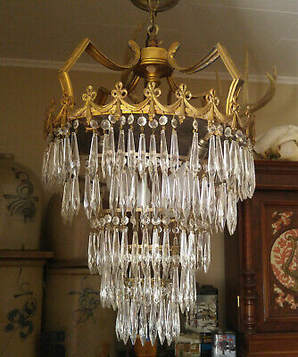 Vintage Art Deco 5 Tier Gold Cast Metal Bow Swag Wedding Cake Crystal Chandelier