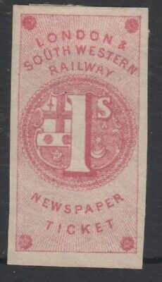 London & South Western Railway 1855 1/- Carmine Imperf Newspaper Stamp Ticket
