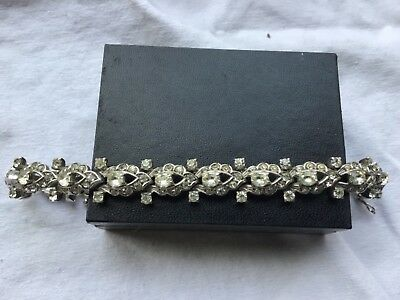 Vintage Rare German Art Deco Knoll & Pregizer Diamond Paste Silver Bracelet