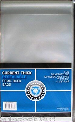 1000 New CSP RESEALABLE CURRENT THICK Comic Book Archival Poly Bags 7X10 1/2