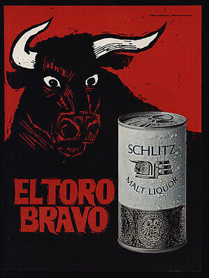 Vintage Schlitz malt liquor El Toro ad reproduction steel sign bar decor