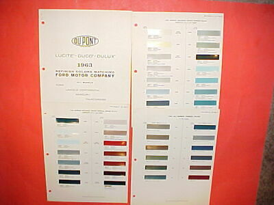 1963 Ford Lincoln Continental Mercury Thunderbird Exterior+Interior Paint Chips