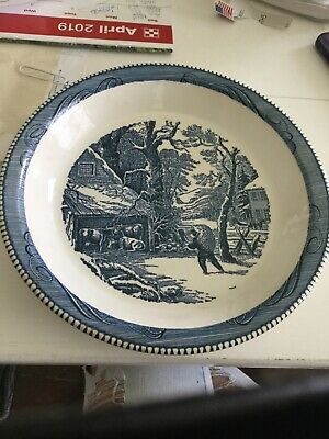23 Piece Set of Vintage Currier and Ives Dinnerware, Royal China Co. , Blue