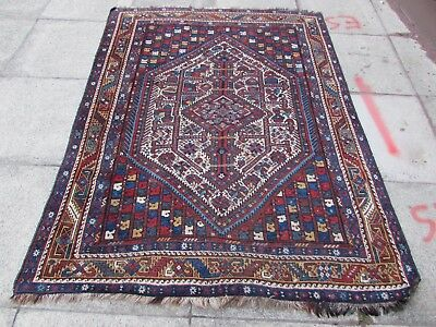 Antique Traditional Hand Made Persian Rugs Oriental Wool Blue Rug 196x150cm