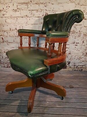 Chesterfield Green Leather Ring Mekanikk Norway Captains Office Desk Chair Seat
