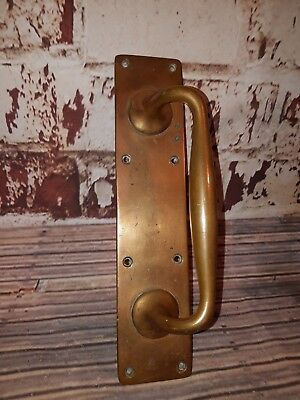 Antique Old Victorian Solid Reclaimed Salvaged Solid Brass Door Pull Handle