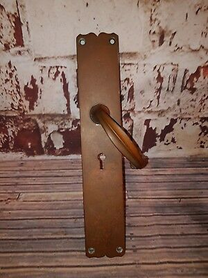 Antique Vintage Old Solid Copper Door Handle Plate Art Deco French Reclaimed