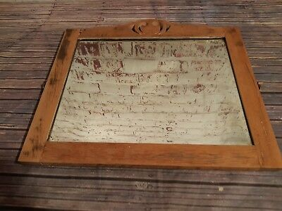 Antique Vintage Old Distressed Oak Beveled Wall  Make Up Bedroom Dresser Mirror