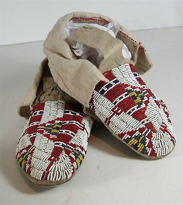 ca1910 PAIR NATIVE AMERICAN SIOUX INDIAN BEAD DECORATED HIDE MOCCASINS BEADED #2
