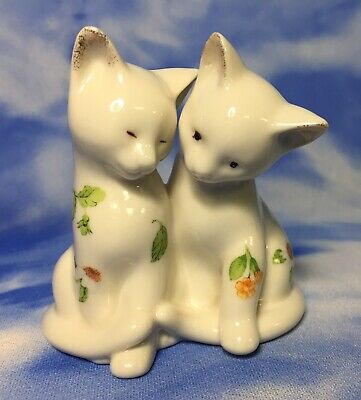 HTF Adorable Lenox Ivory Porcelain Floral Flowers Kittens Kitty Cat Figurine EUC