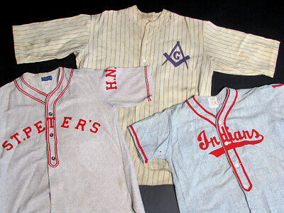 Three Vintage / Antique / Old Wool & Flannel Baseball Jerseys, Pinstripe Masonic