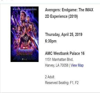 Avengers: Endgame: The IMAX 2D Experience - April 25 6:30pm - AMC Westbank