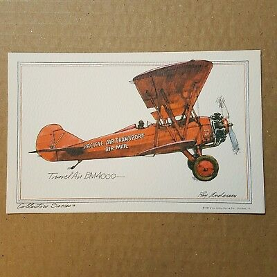 Travel Air BM4000 Collector Series Roy Andersen pacific transport litho Postcard