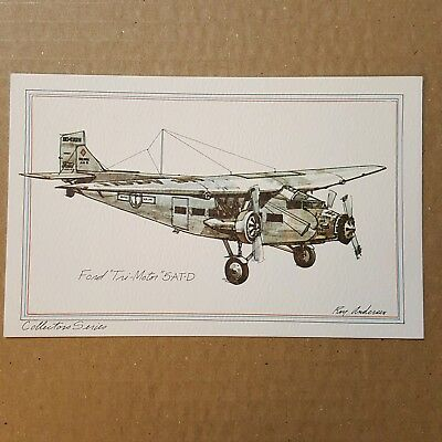 Ford Tri Motor 5-AT-D airplane Collector Series by Roy Andersen  litho Postcard
