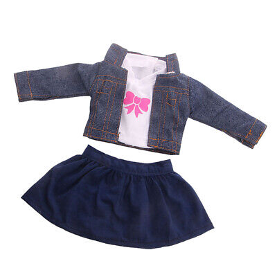 MagiDeal Handmade 18inch Doll Clothes Coat,T-shirt & Skirt for AG American Doll