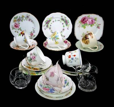 Vintage Mad Hatter mismatched mixed 6 person 20 pc afternoon tea set trios