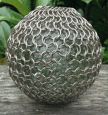 Unusual Vintage Large Clear Glass Bubble Paperweight With A Chain Covering