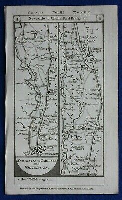 Original antique road map NORTHUMBERLAND, CUMBERLAND, NEWCASTLE, Paterson, 1785