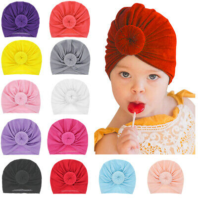 cdfa5909 Solid Color Hairbands Newborn Beanie Hat Ball Knot Kids Baby Turban Winter  Cap