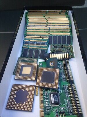 31 sticks gold recovery scrap RAM  3 older 486 cpu's plus board and other bits