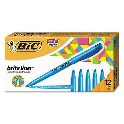 BIC Highlighter Chisel Tip Fluorescent Blue Bulk School Office 2PkX12=24Ct Nice!