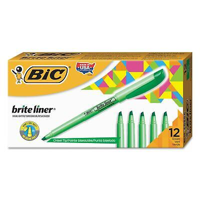 BIC Highlighter Chisel Tip Fluorescent Green Durable Elegant 2PkX12=24Ct Nice!