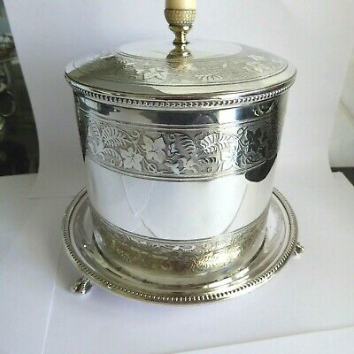 Victorian Silver Plate Chased Design Biscuit Barrel Box On  3 Ball & Claw Feet