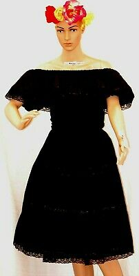 Peasant Black Traditional Mexican Dress Knee Lenght Lace