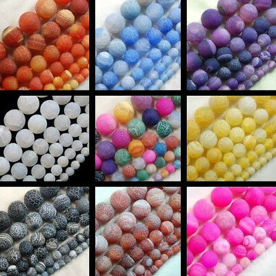"""Natural Matte Fire Crackle Agate Gemstones Round Loose Beads 15"""" 12mm 14mm 16mm"""