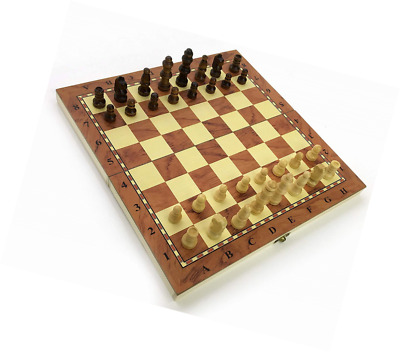 Chess Set Fold Away Board Quality Handmade Wooden Pieces Complete FIDE Compliant