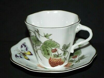 Coalport Bone China Strawberry LARGE  COFFEE CUP & SAUCER Strawberries Butterfly