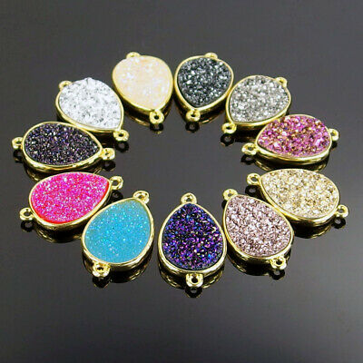 10pcs Waterdrop Druzy Geode Crystal Resin CAB Bracelet Necklace Connector Beads