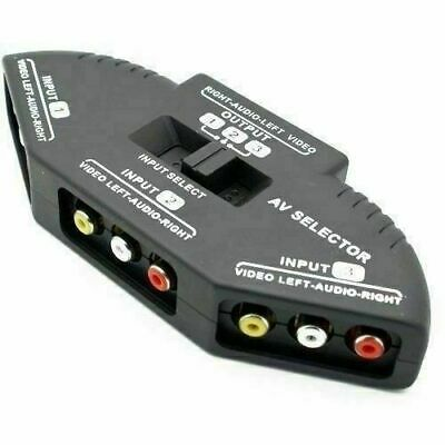 Cable N Wireless 3 Way Audio Video AV RCA Composite Switch Selector Box Splitter