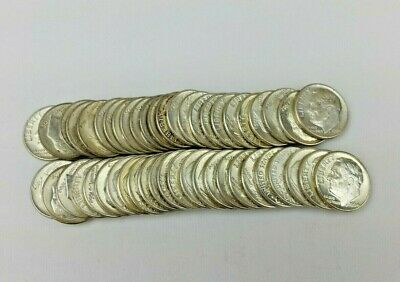 One Roll of BU Silver Roosevelt Dimes, Mixed Dates/Mint Marks, Ships Free