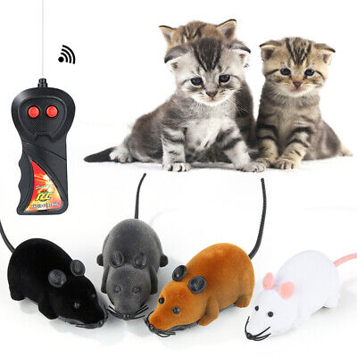 Wireless Electric RC Flocking Rat Mice Toys Pet Cat Play Remote Control Mouse