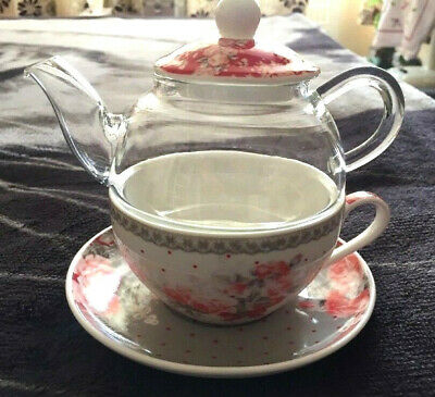 Orval Creations Red/Grey Floral Porcelain Pot Cup Tea For One Gift Idea ♡♡♡