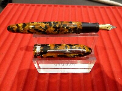 Laban Enamel Broad Point NEW LMB-F200-4SOB Fountain Pen Orange Honeycomb