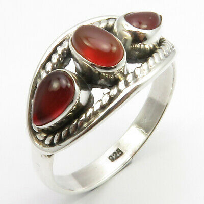 925 Pure Sterling Silver Red Drop, Oval Carnelian Ring Sz 9 Gemstone Jewelry