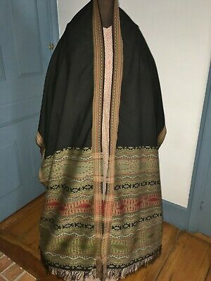 C1820 Antique Hand Woven Silk Paisley Shawl Shoulder Mantle Excellent Cond
