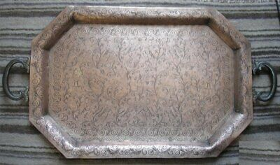 19th Century Indo Persian Brass/Copper Hand Chased Large Figural Octagonal Tray