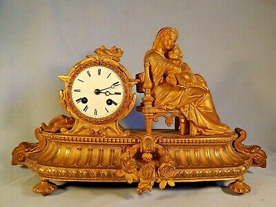 """19c French Ormolu Figural Clock """"Japy Freres"""" C1880."""