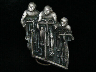 Pf11131 Vintage 1979 Cut-Out **Three Bicyclists** Sports Racing Bergamot Buckle