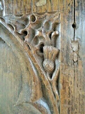 18Th Century Gothic Oak Carved Pew End, Carved Thistle And Grapes