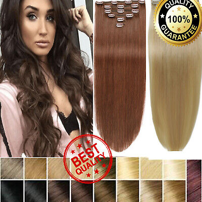 Extra THICK Double Weft Real Clip In Remy Human Hair Extensions Full Head Blonde