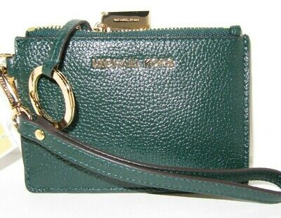 3aaa4966ead7 Michael Kors Money Pieces Small Coin Purse Racing Green Leather Key Ring  Wallet
