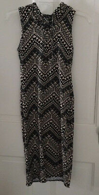 Womens HOODED SLEEVELESS DRESS Black Tan Aztec Print by FRENCH ATMOSPHERE Size M
