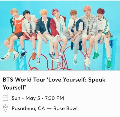 BTS World Tour Tickets *2 TICKETS* Rose bowl CA May 5 2019